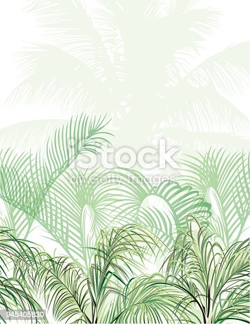 istock Tropical Design Template with Copy Space for Text - Nature Flower / Leaf Seamless Pattern in Background 945405830