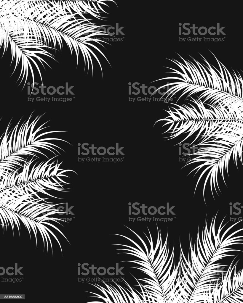 Tropical design with white palm leaves and plants on dark background, vector illustration vector art illustration
