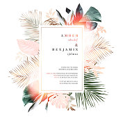 Tropical elegant pastel frame arranged from exotic and dried palm leaf. Design vector. Paradise plants chic card. Stylish fashion banner. Wedding template. All leaves are not cut.Isolated and editable
