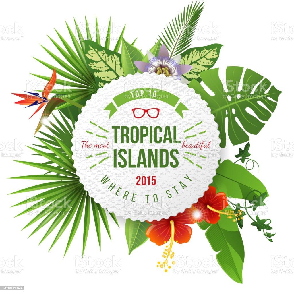 Tropical emblem with type design vector art illustration