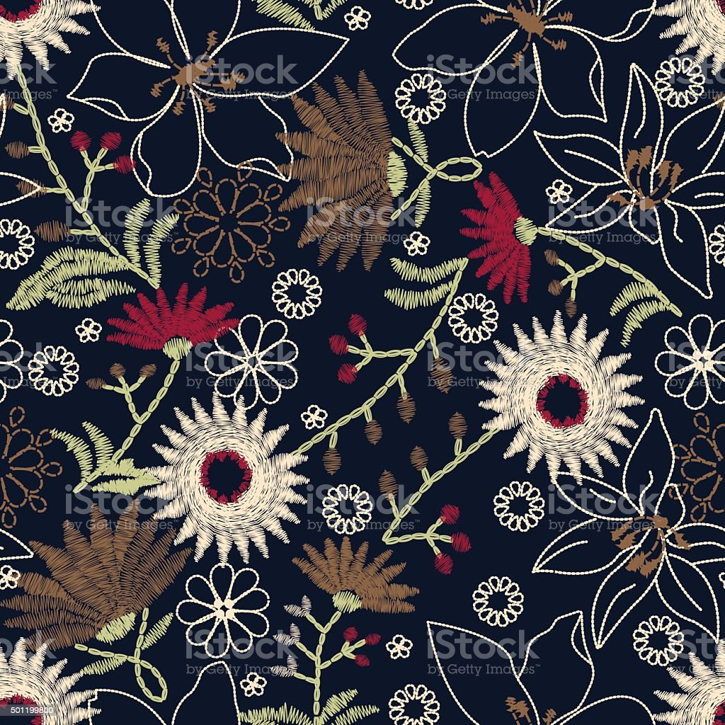 Tropical embroidery floral design in a seamless pattern vector art illustration