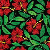 Tropical embroidery hibiscus plant in a seamless pattern .