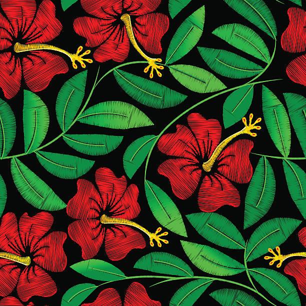 stickerei hibiskus tropische pflanze in eine nahtlose musterung - hibiskusgarten stock-grafiken, -clipart, -cartoons und -symbole