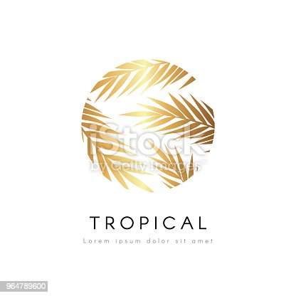 Tropical Exotic Emblem Golden Palm Tree Leaves Vector Logo Stock Vector Art & More Images of Beach 964789600