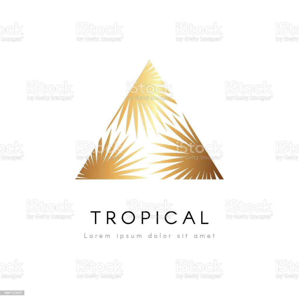 Tropical exotic emblem. Golden palm tree leaves vector logo. - Векторная графика Без людей роялти-фри