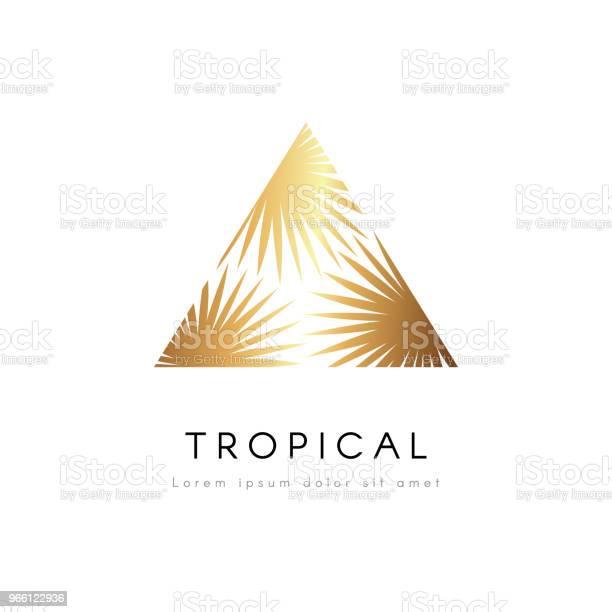 Tropische Und Exotische Emblem Goldene Palme Blätter Vektorlogo Stock Vektor Art und mehr Bilder von Blatt - Pflanzenbestandteile