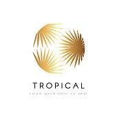 Tropical exotic circle emblem. Golden palm tree leaves vector logo.