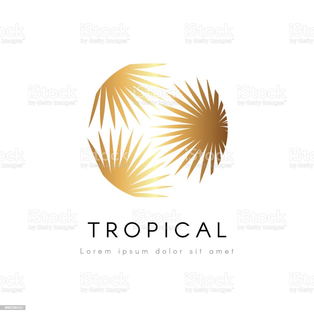 Emblema de exótica tropical. Árbol de la palma de oro hojas vector logotipo. - ilustración de arte vectorial