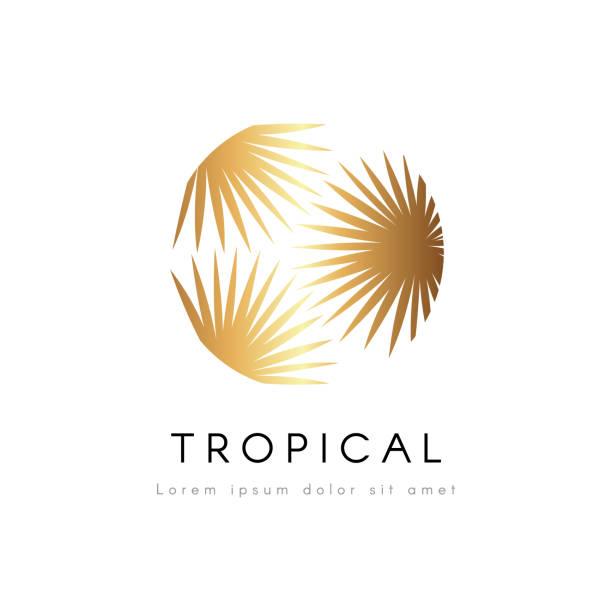 Tropische und exotische Emblem. Goldene Palme Blätter Vektor-Logo. – Vektorgrafik