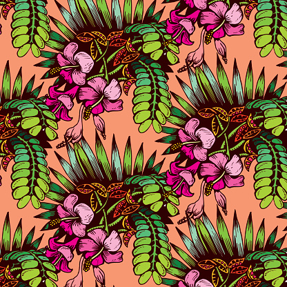 Tropical Exotic Jungle Plant Pattern. Theme of summer recreation.