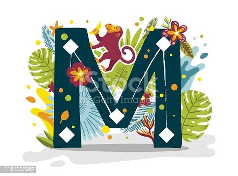 istock Tropical exotic letter, animals, flowers. Cute cartoon flat style font 1181207657