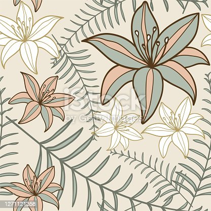Tropical exotic palm leaves seamless pattern. Hand drawn palm leaves with contour In soothing pastel colors. Floral background for fabric, textile, T-shirts and wallpaper.