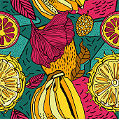 Tropical exotic pattern design, bright fruits and flowers.