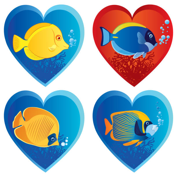 Tropical fish and love vector art illustration