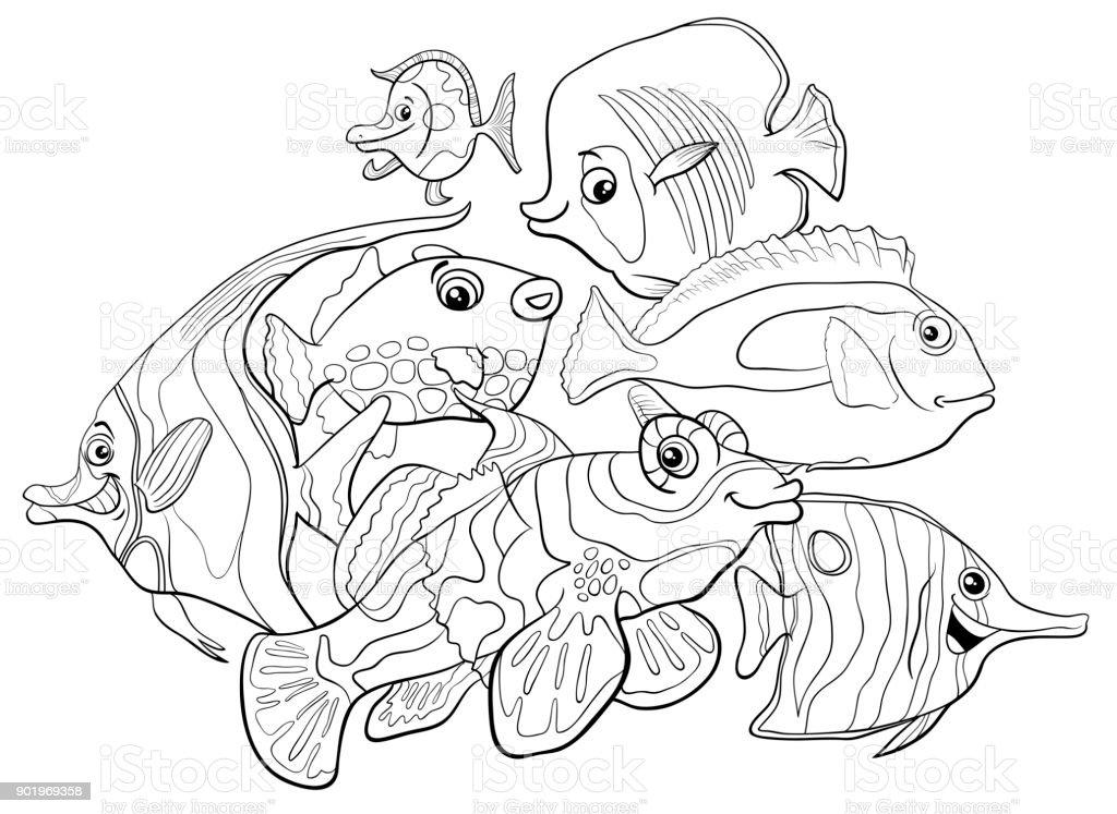 Ilustración de Personajes De Animales Peces Tropicales Para Colorear ...