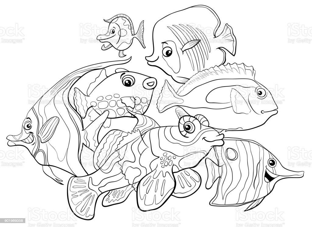 tropical fish animal characters coloring book vector art illustration
