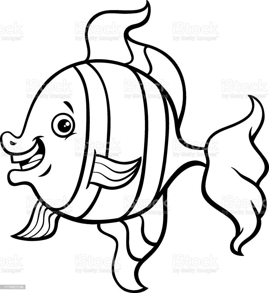 Ilustracion De Pagina Para Colorear Dibujos Animados De Peces