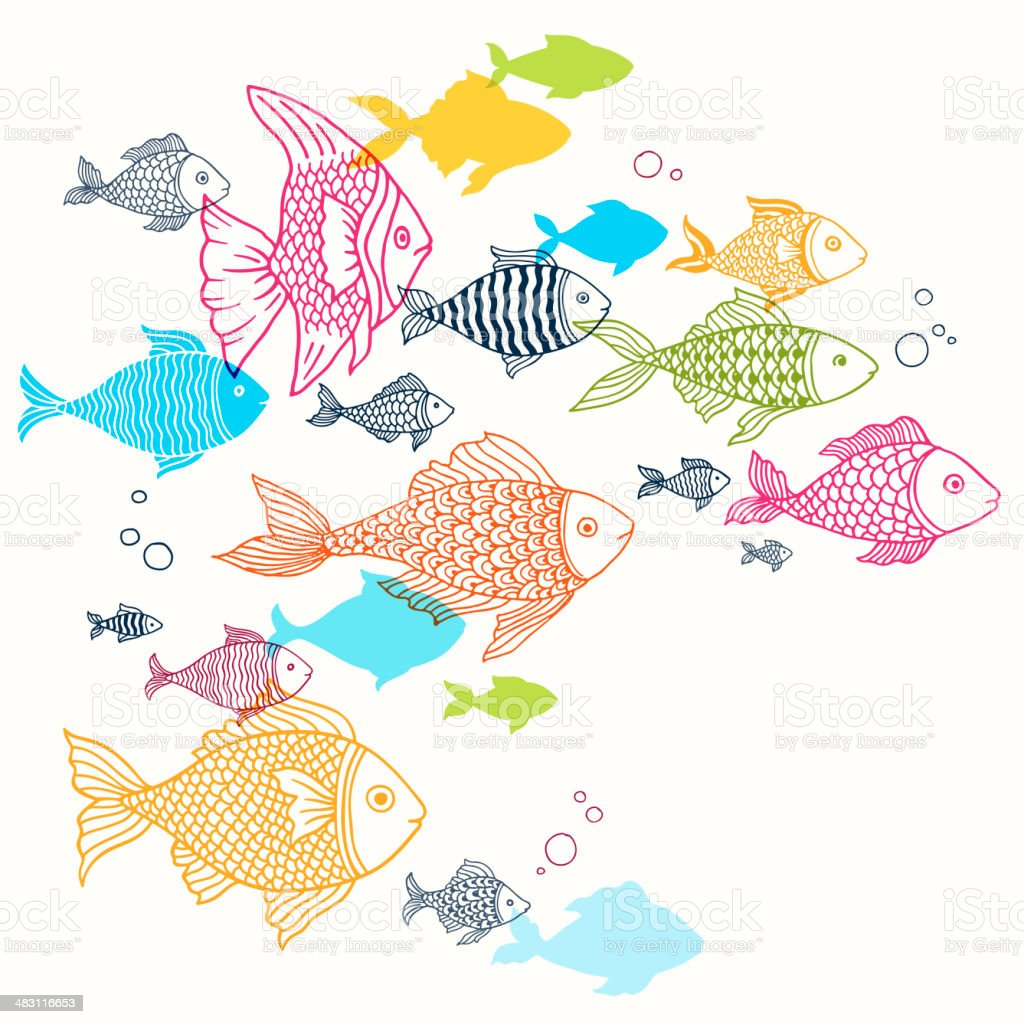 royalty free drawing of a school of fish clip art vector images rh istockphoto com Schoolhouse Clip Art free school of fish clipart