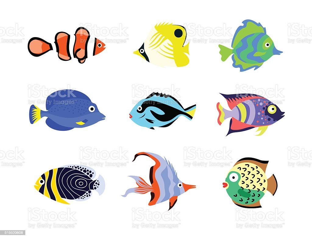 tropical fish icons flat style vector illustration stock vector