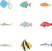 Tropical fish icons set, cartoon style