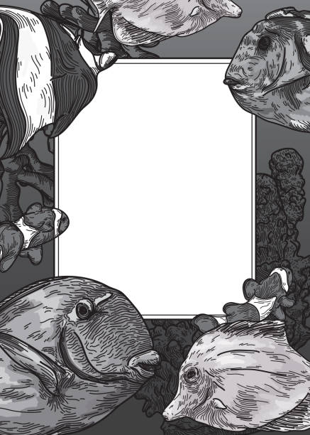 Tropical Fish Invitation Template vector art illustration