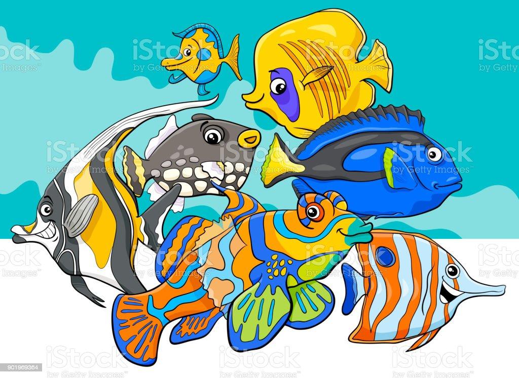 tropical fish sea life animal characters group vector art illustration
