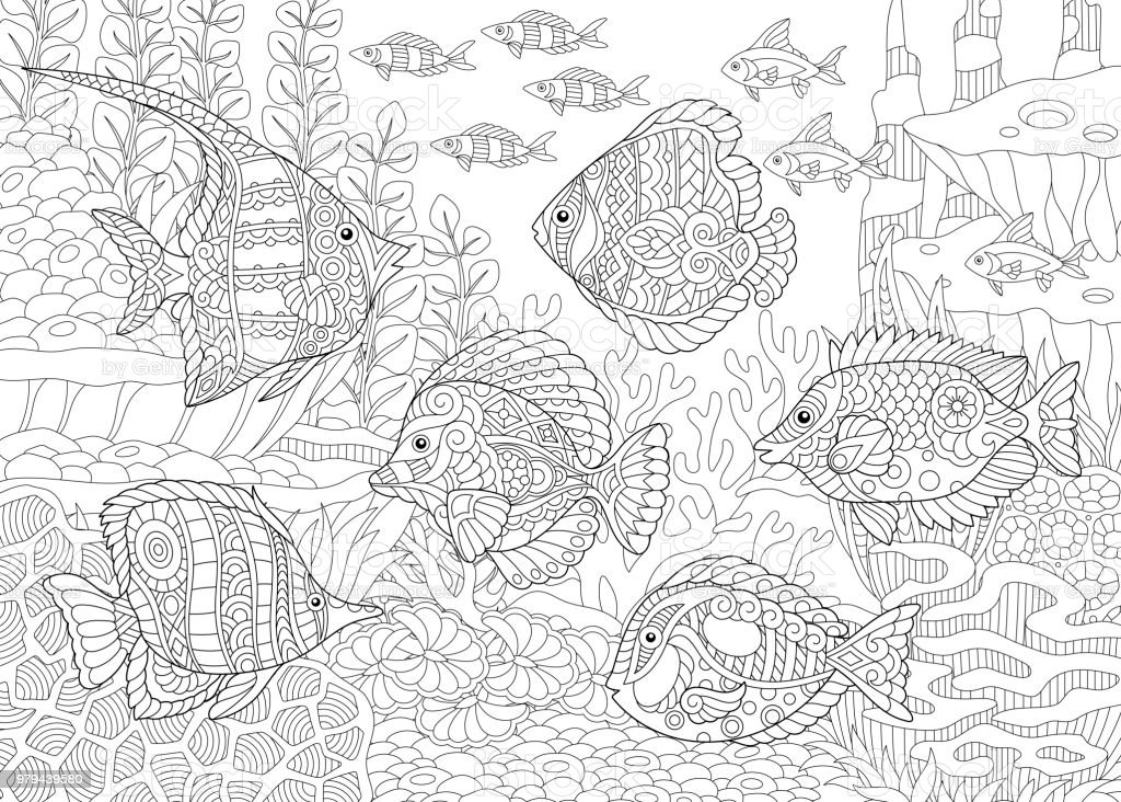 Tropical fishes of different species. vector art illustration