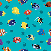 tropical fishes seamless pattern