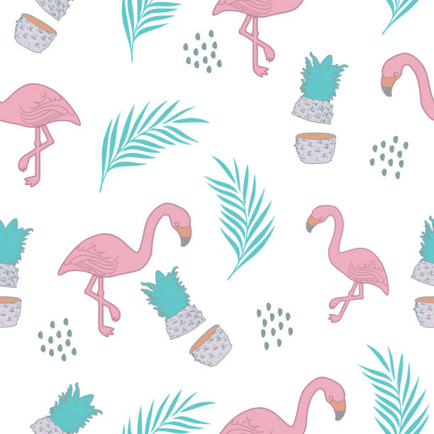 stockillustraties, clipart, cartoons en iconen met tropische flamingo naadloze patroon vector illustratie - afrikaanse vogel
