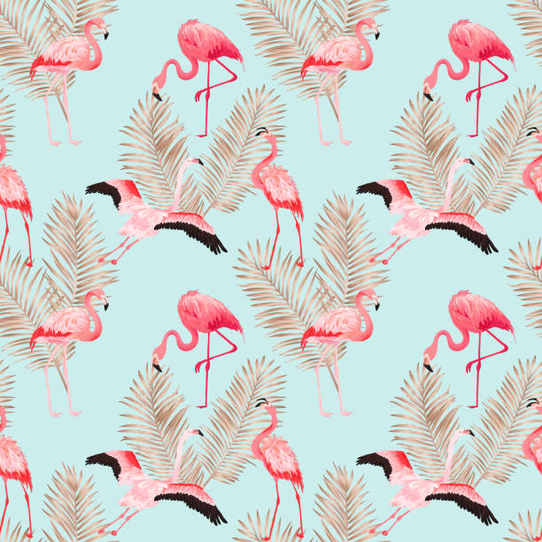 tropical flamingo seamless vector summer pattern with golden palm leaves. bird and floral background for wallpapers, web page, texture, textile - flamingo stock illustrations