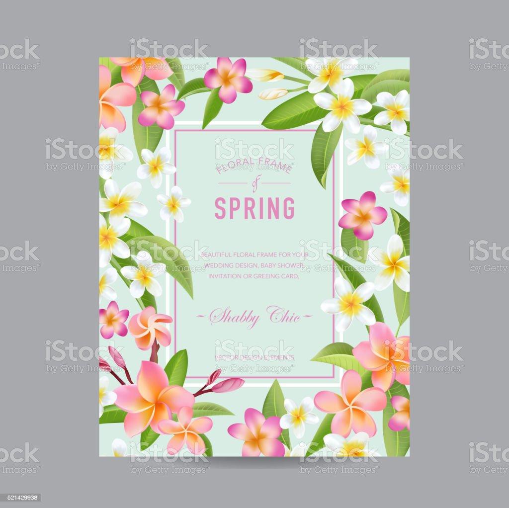 Tropische Blumen Bunte Rahmen Für Einladung Hochzeit Babydusche ...