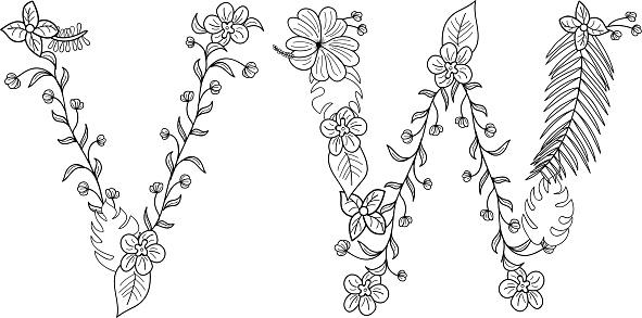Tropical floral . Letter V,W