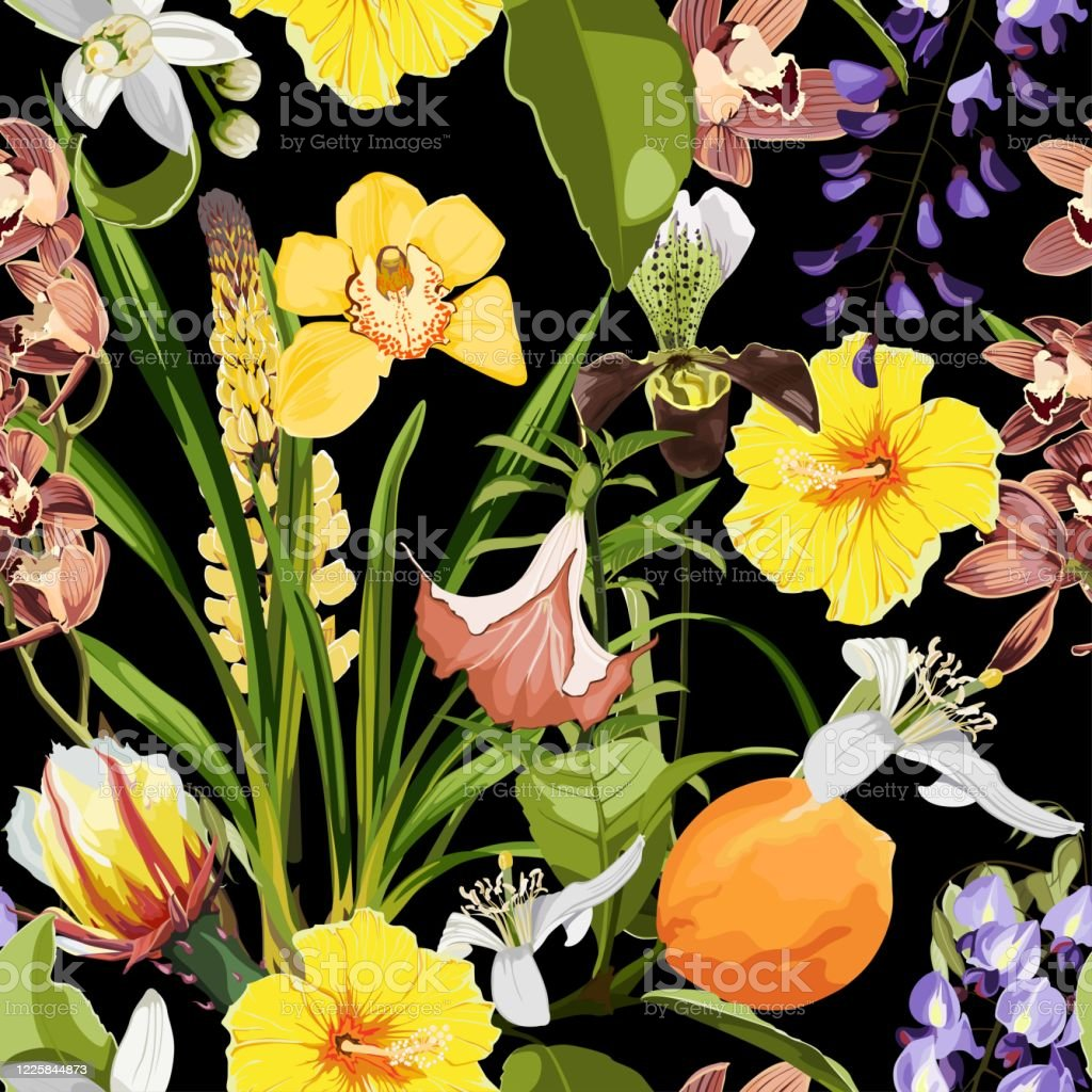 Tropical Floral Seamless Pattern Black Background With Exotic Yellow Flowers Palm Leaves Jungle Leaf Orchid Visteriae Flower Botanical Wallpaper Illustration In Hawaiian Style Stock Illustration Download Image Now Istock