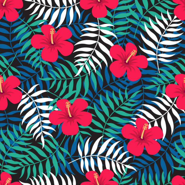 Tropical floral seamless pattern with exotic leaves and red flowers of hibiscus. Vector illustration hawaiian culture stock illustrations