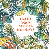 Tropical floral summer party poster with palm beach leaves.