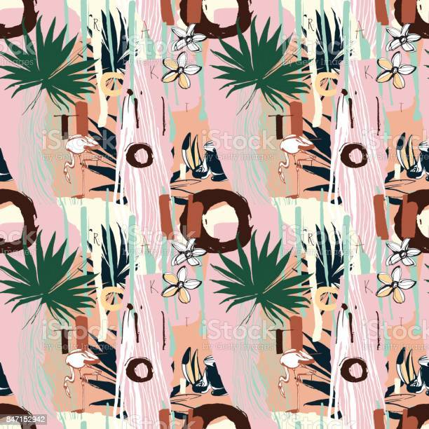 Tropical floral summer seamless color background pattern palm leaves vector id847152942?b=1&k=6&m=847152942&s=612x612&h=mhrtzaxb5csdnapto7m79adwb0jvfs6kw8i7pgs12fu=