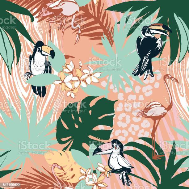 Tropical floral summer seamless color background pattern palm leaves vector id847155622?b=1&k=6&m=847155622&s=612x612&h=zft8lke9xpodbmjxnksbz x6i2ddkti7ybmoaxjj4zm=