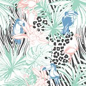 Tropical floral summer seamless color background pattern
