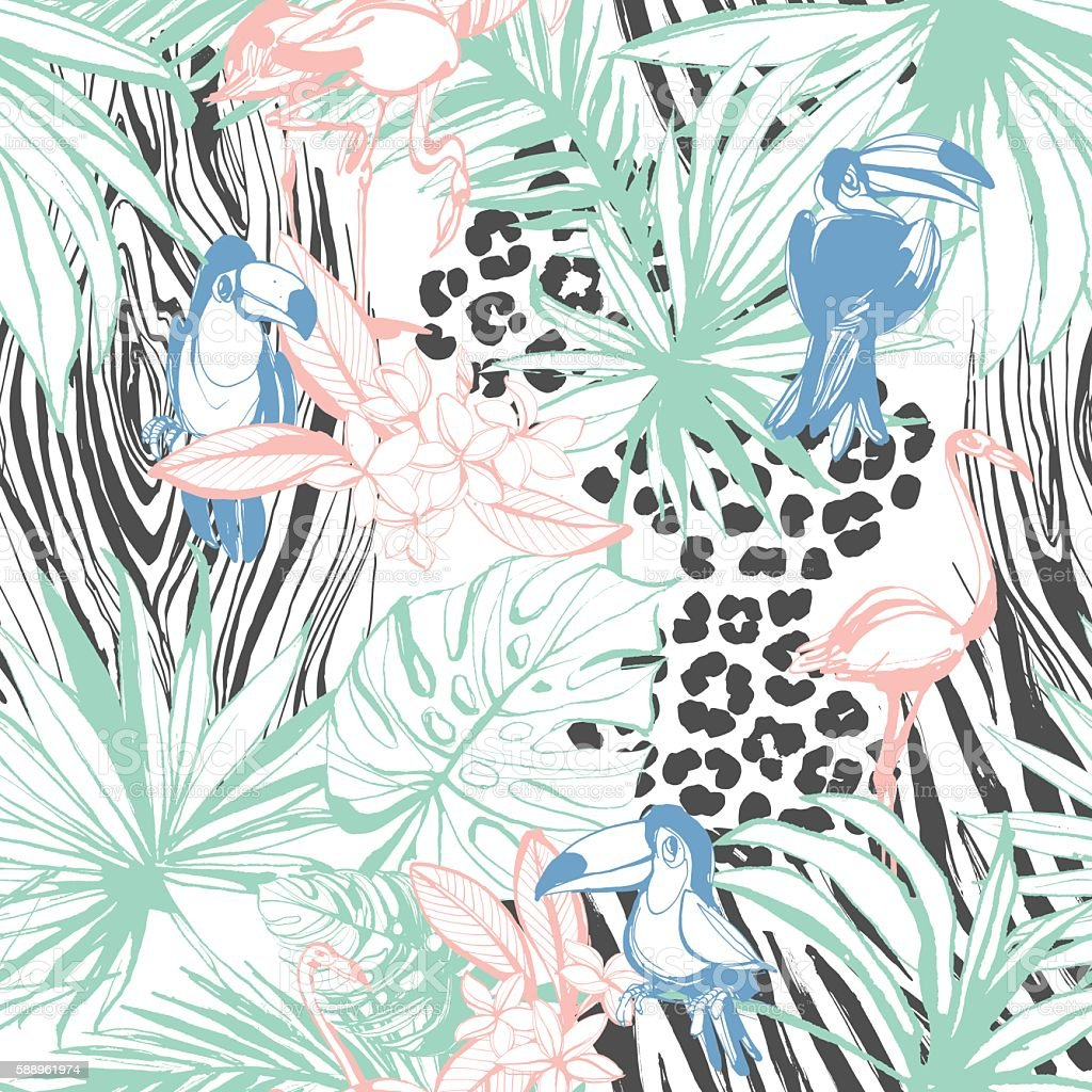 Tropical floral summer seamless color background pattern vector art illustration