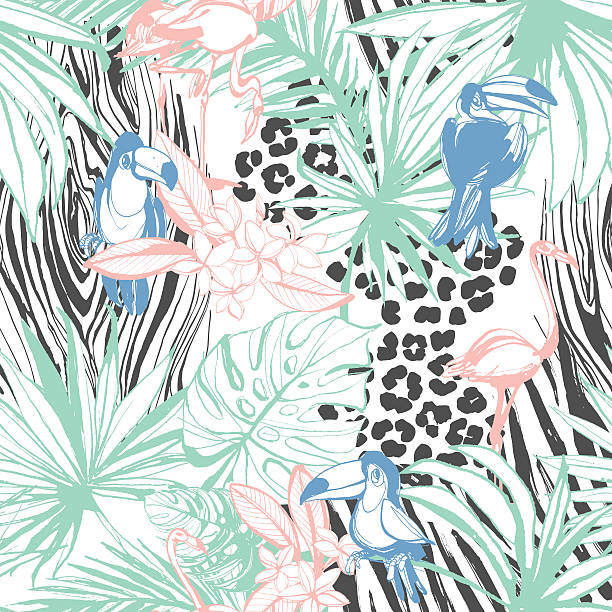ilustraciones, imágenes clip art, dibujos animados e iconos de stock de tropical floral summer seamless color background pattern - textura de leopardo