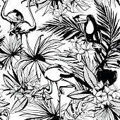 Vector illustration Tropical floral summer seamless pattern with palm beach leaves, flowers, flamingo and toucan birds.