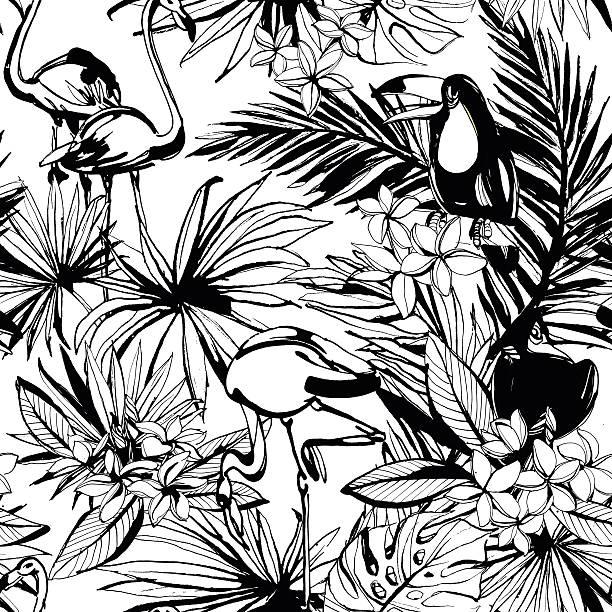 sommer nahtlose tropischen blumen muster mit palm strand fährt, - hibiskusgarten stock-grafiken, -clipart, -cartoons und -symbole