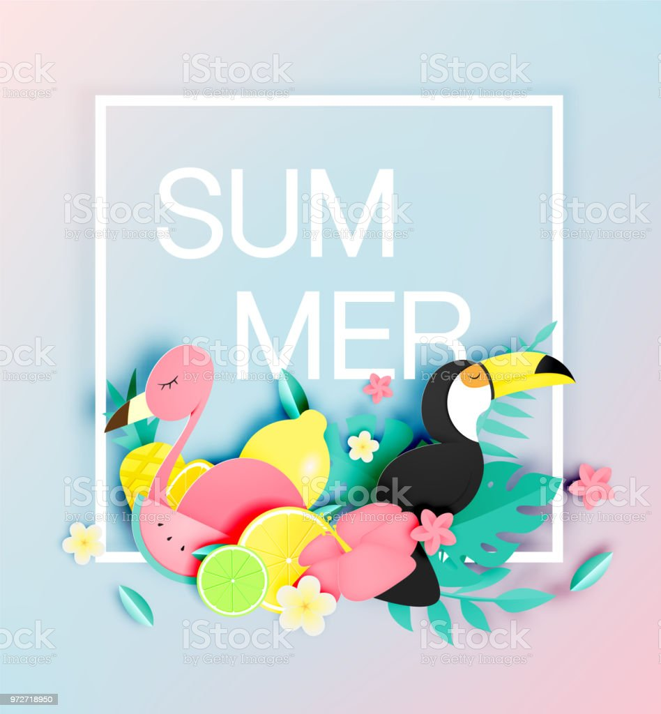 Tropical Floral With Flamingo And Toco Toucan In Paper Art Style And ...