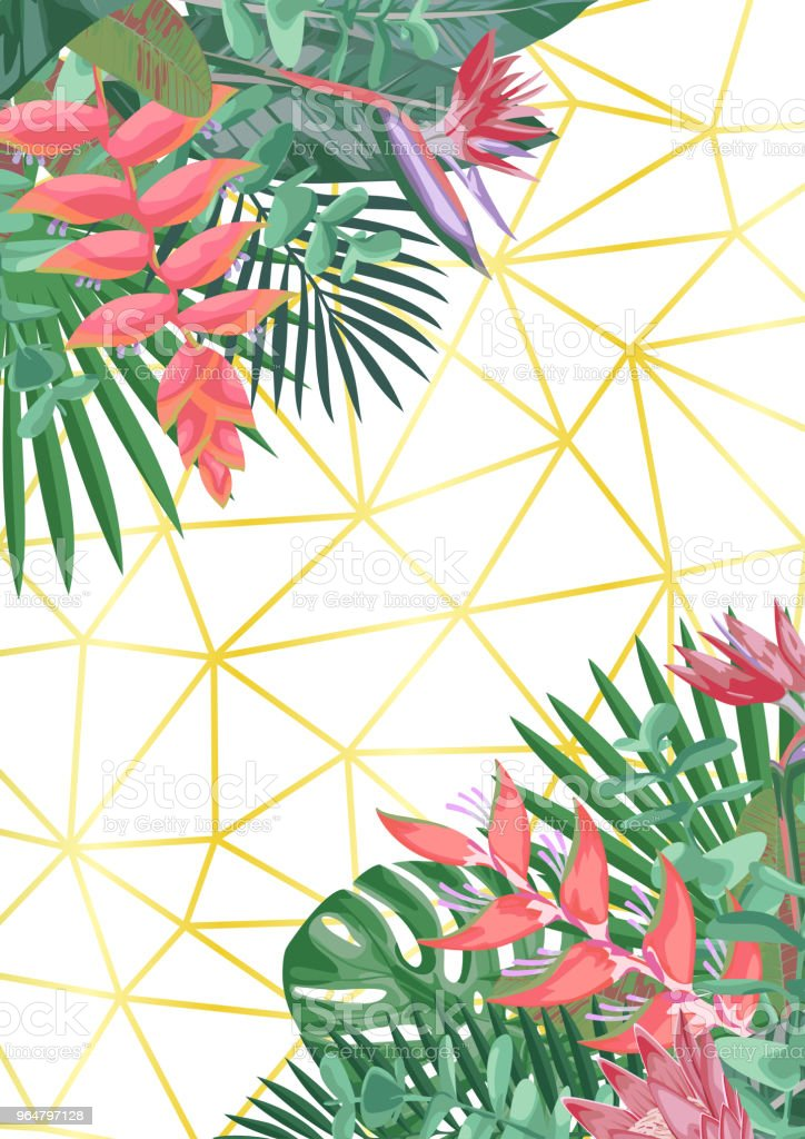 Tropical Flower and Geometric Background royalty-free tropical flower and geometric background stock illustration - download image now