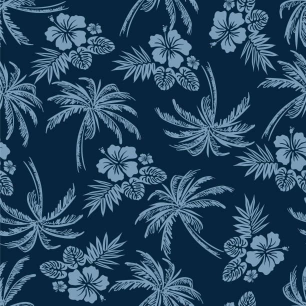 Tropical flower and palm tree pattern navy Tropical flower and palm tree pattern navy hawaiian culture stock illustrations