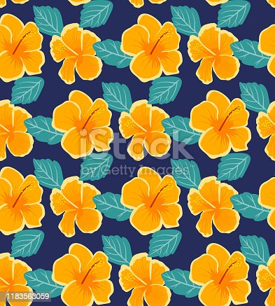 Seamless tropical vector pattern with hibiscus flowers on dark blue background