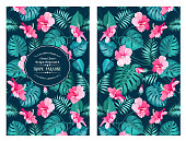 Tropical flower pattern on the book cover design. Blossom flowers for nature background. Vector illustration.