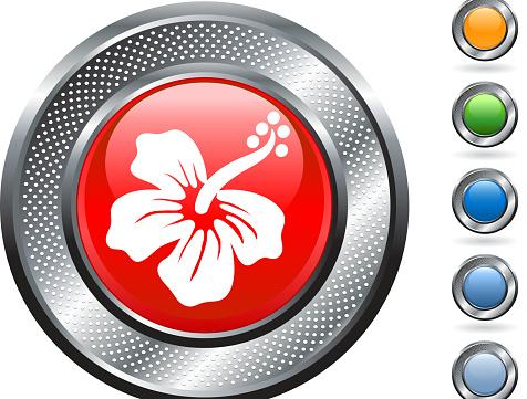 Tropical flower royalty free vector art on metallic button.