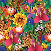 A vector seamless repeating pattern made up of tropical flowers such a orchids, African violets, carrion flowers, protea and more.