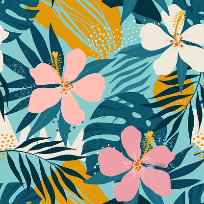 Tropical flowers and artistic palm leaves on background. Seamless. Vector pattern.